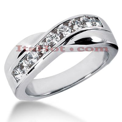 14K Gold Women's Diamond Wedding Band 0.70ct 7.3mm Main Image