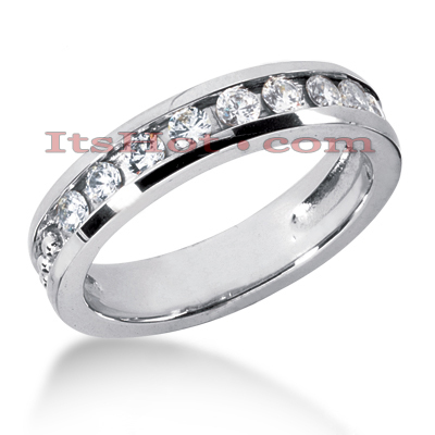 14K Gold Women's Diamond Wedding Band 0.90ct