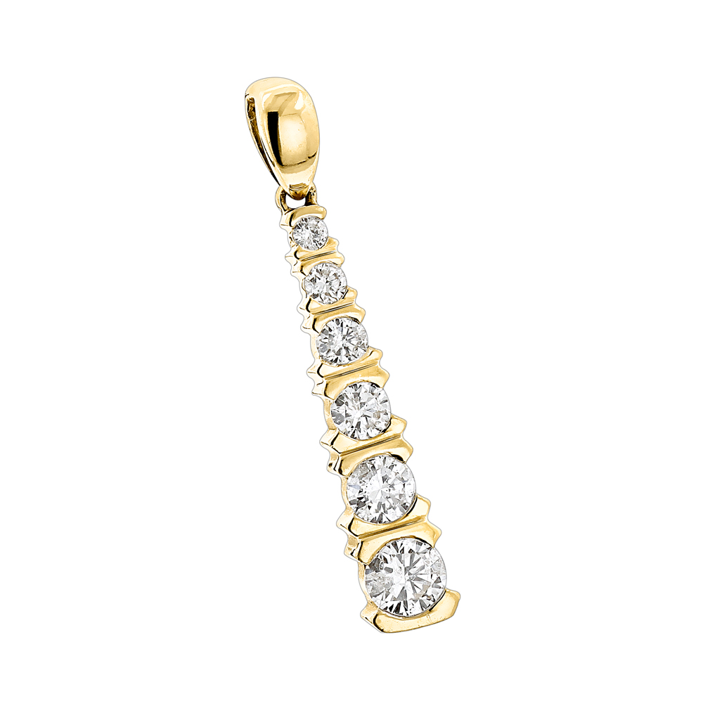 14K Gold Journey Diamond Pendant for Women 1/2ct Yellow Image