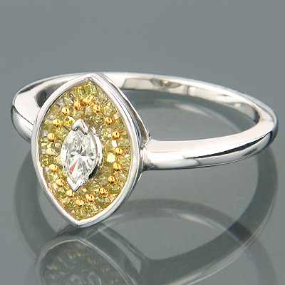 14K Gold Womens Marquise Diamond Fashion Ring 0.63ct Main Image