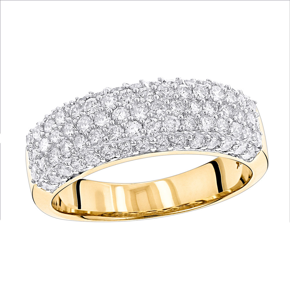 14K Gold Womens Pave Diamond Ring Round Diamonds 1.15ct Yellow Image