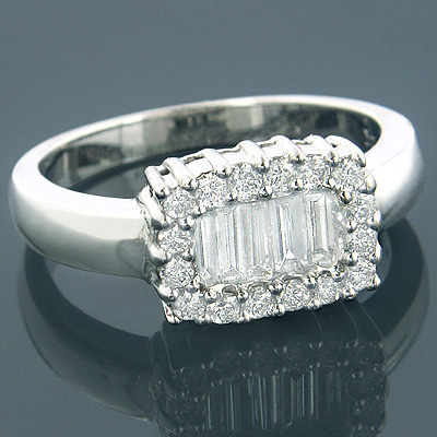 14K Gold Womens Round Baguette Diamond Ring 0.94ct Main Image