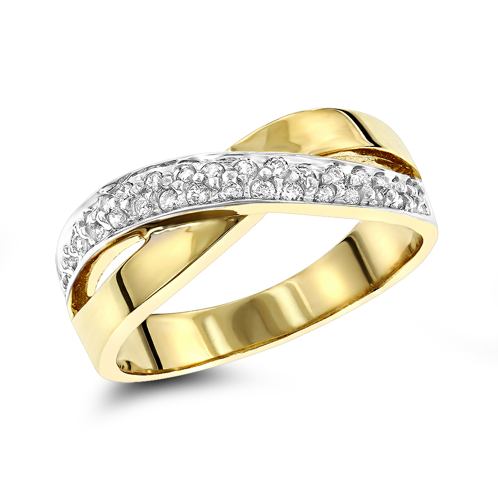 14K Gold Womens Round Diamond Ring 0.3ct Yellow Image