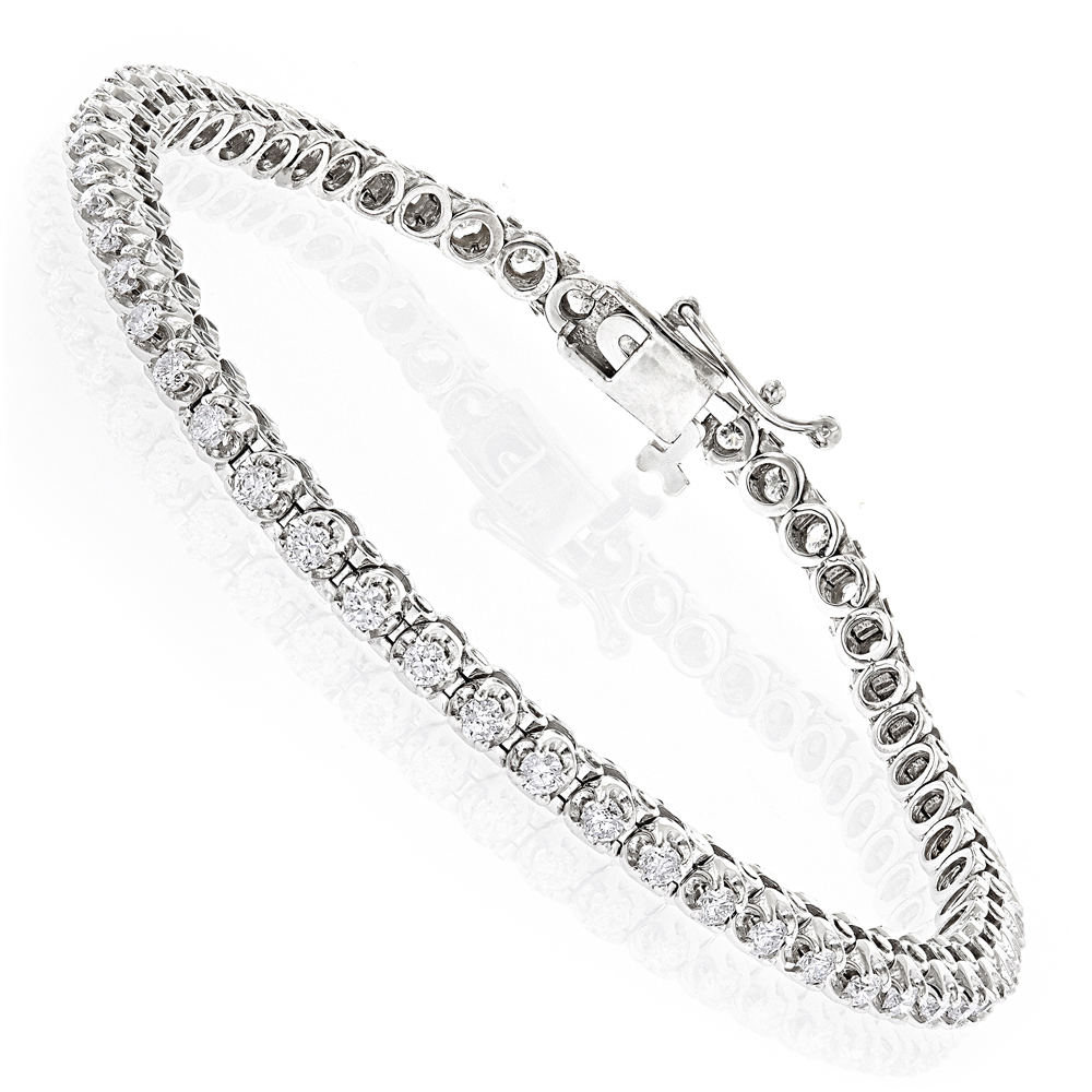 14K Gold Womens Round Diamond Tennis Bracelet 1.80ct White Image