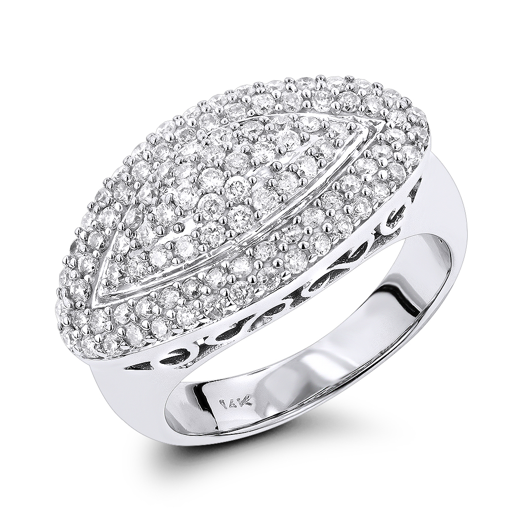 14K Gold Womens Round Pave Diamond Ring 1ct White Image