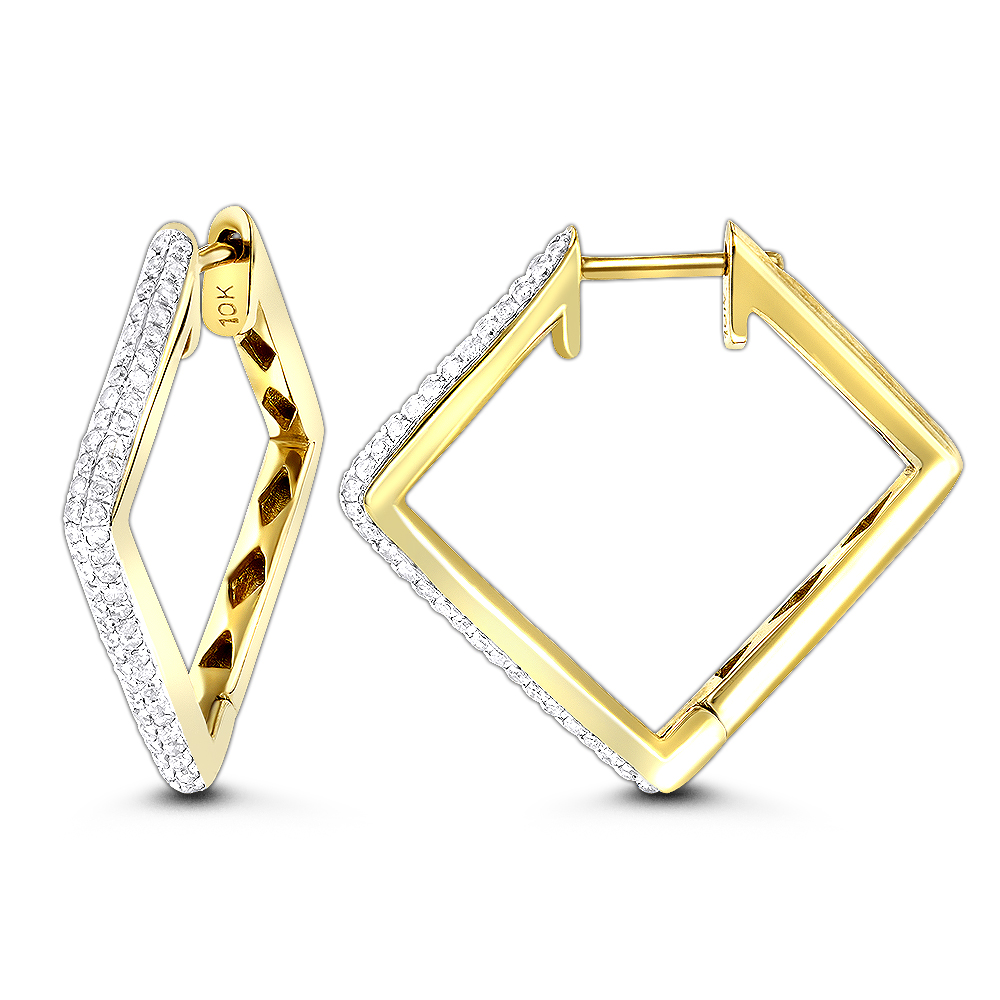 14K Gold Square Kite Shape Pave Diamond Hoop Earrings for Women 0.65ct Yellow Image