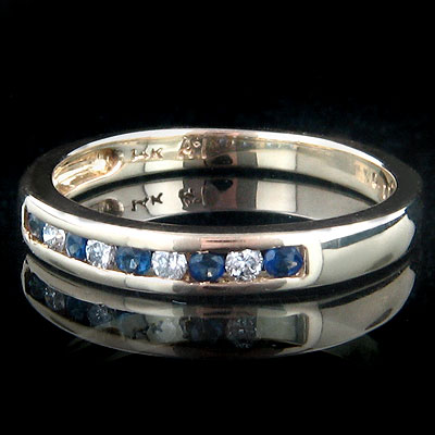 Thin 14K Gold Womens White Blue Diamond Ring 0.15ct Main Image