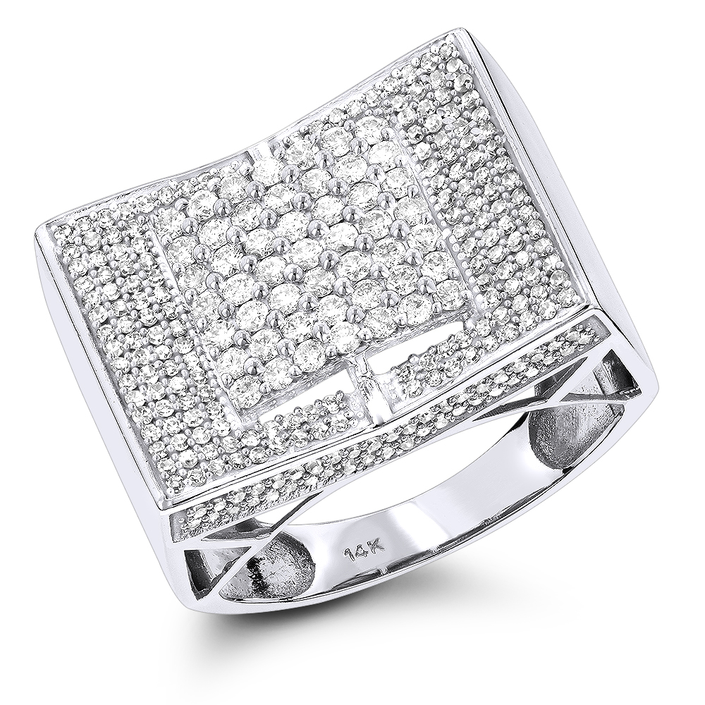14K Iced Out Mens Diamond Ring 1.55ct White Image