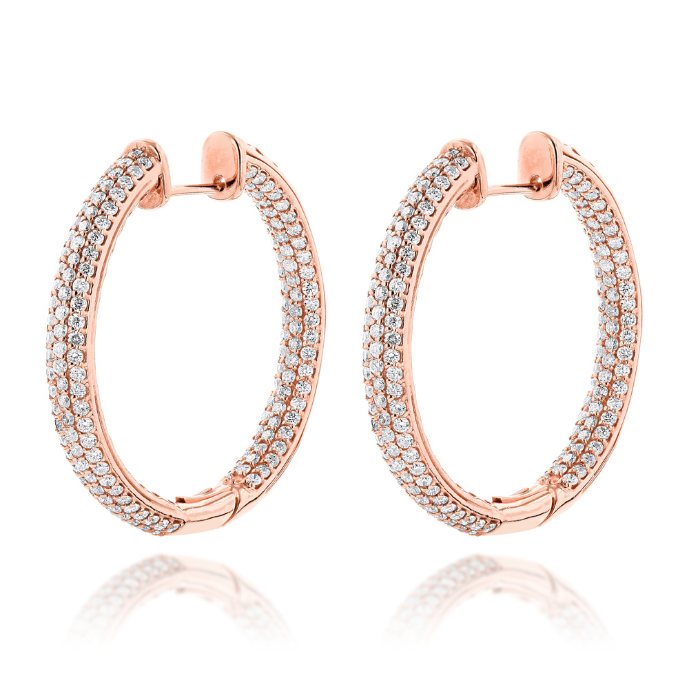 14K Gold Large Inside Out Diamond Hoop Earrings 6ct Rose Image