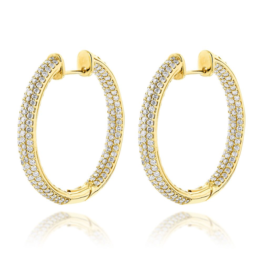 14K Gold Large Inside Out Diamond Hoop Earrings 6ct Yellow Image