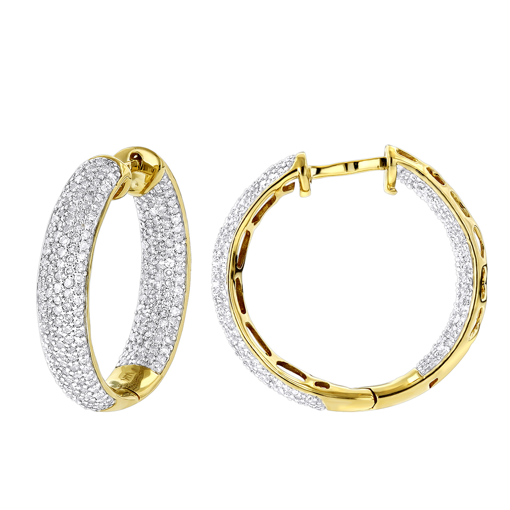 14K Inside Out Pave Diamond Hoop Earrings 1.5ct Yellow Image