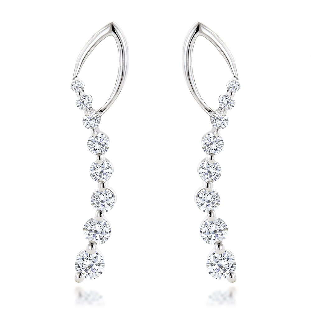 Journey Diamond Earrings For Women in 14k Gold 1.1ct White Image