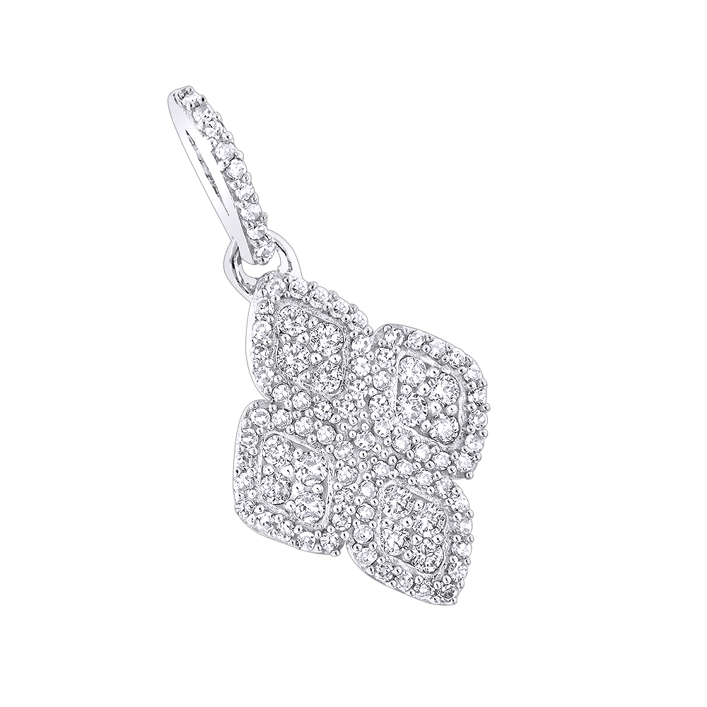 14K Ladies Diamond Pendant 0.42ct White Image