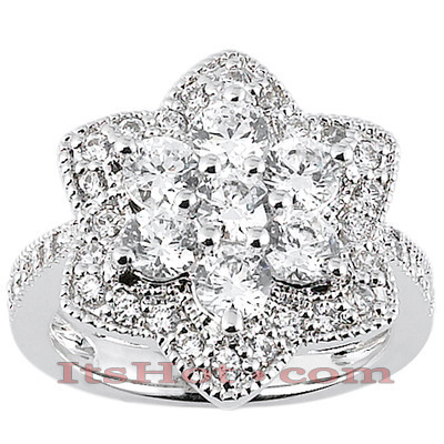 Thin 14K Ladies Flower Diamond Ring 2.37ct Main Image