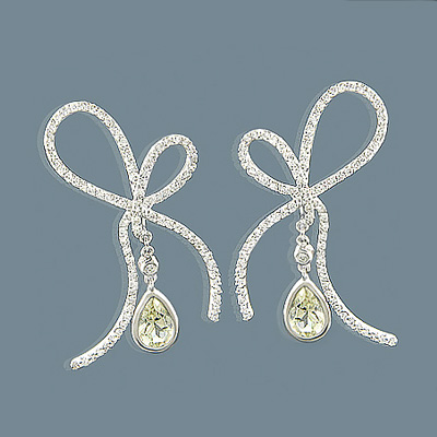 14K Lemon Quartz Diamond Bow Earrings 1.23ct Main Image