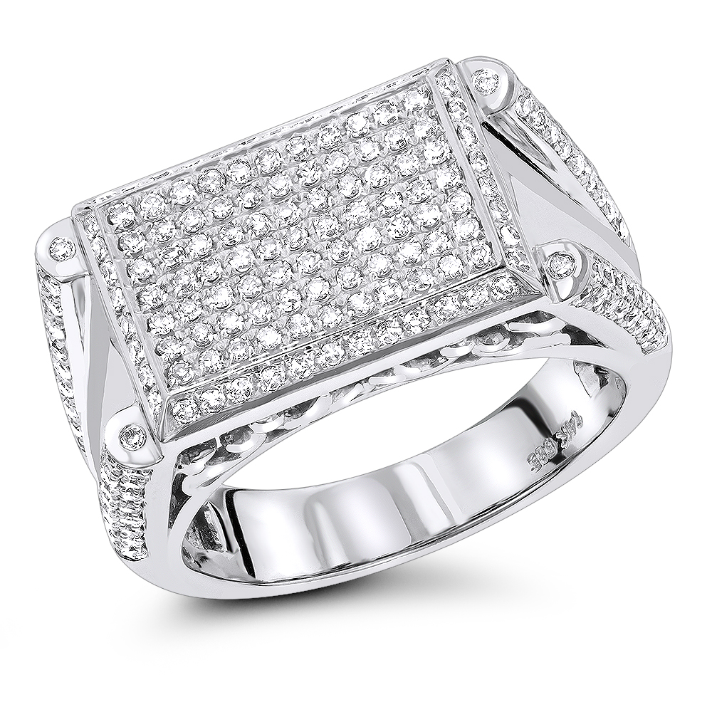 14K Mens Designer Diamond Ring 1.10ct