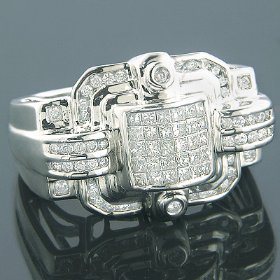 14K Mens Designer Diamond Ring Princess Round 2.16ct Main Image