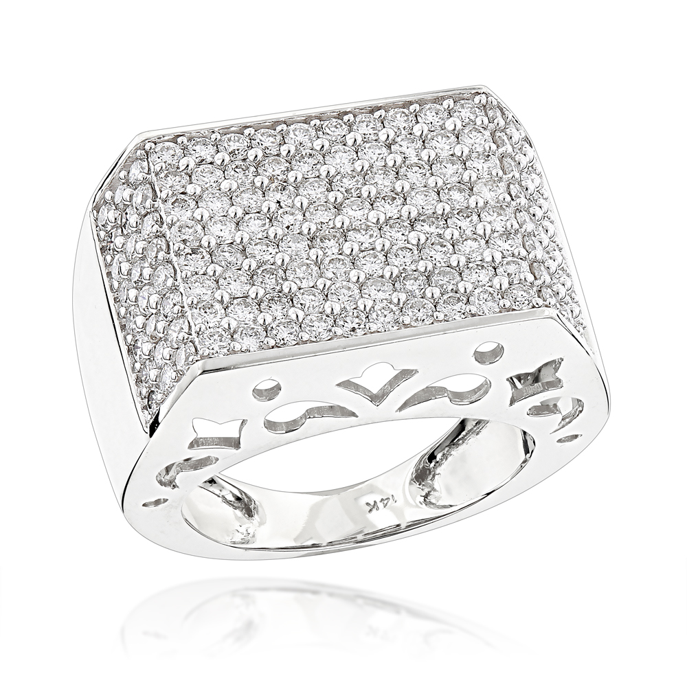 14K Gold Pave Diamond Ring For Men 4 Carat by Luxurman White Image