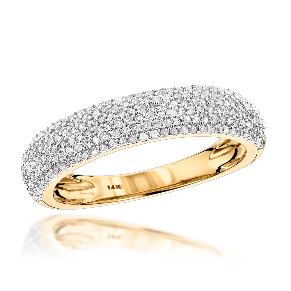 Thin 14K Gold Micro Pave Diamond Wedding Band for Women 0.5ct Yellow Image
