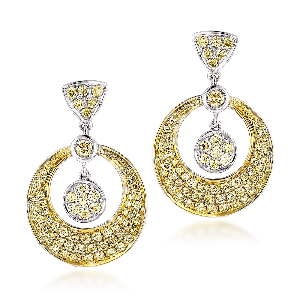 14K Natural Yellow Diamond Drop Earrings 1.33ct Main Image