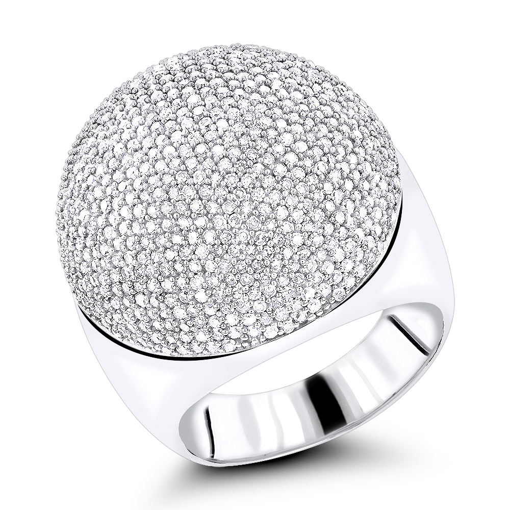 14K Pave Diamond Dome Ring 2.2ct White Image