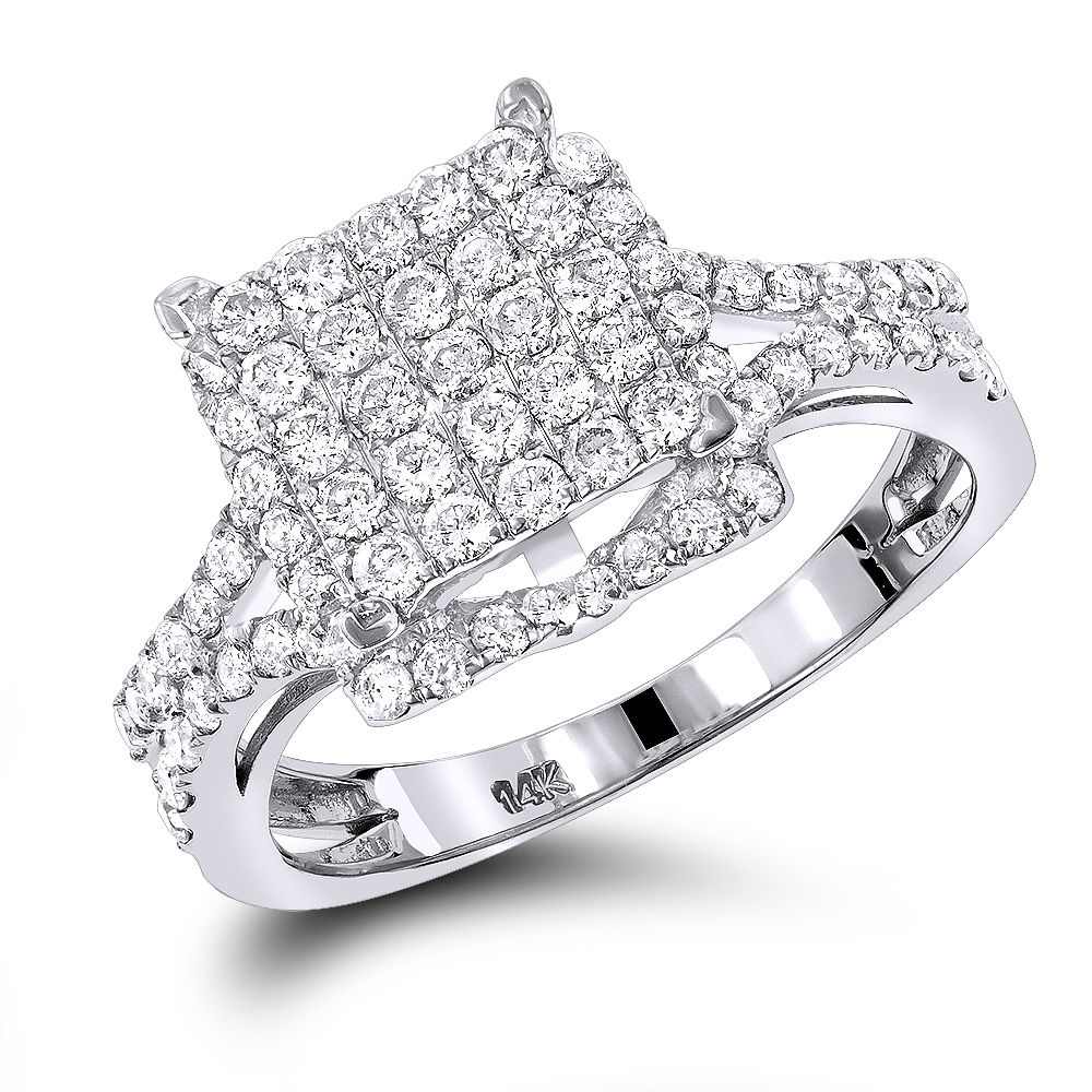14K Pave Diamond Engagement Ring 1.25ct