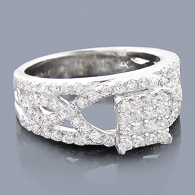 14K Pave Diamond Engagement Ring 1.39ct Main Image