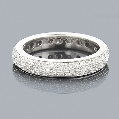 14K White Gold Pave Diamond Eternity Band for Women 1.25ct Main Image