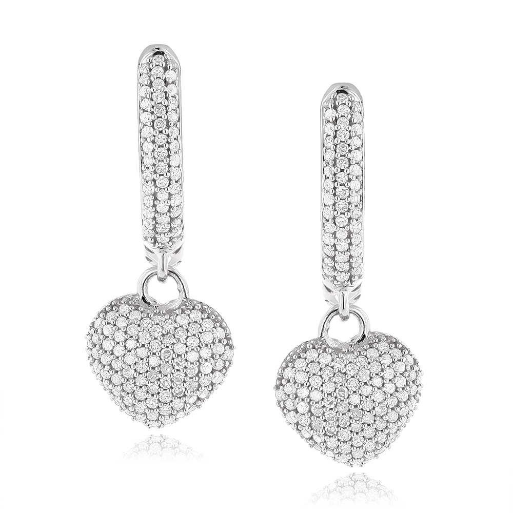 14K Gold Pave Diamond Heart Earrings for Women 0.76ct White Image
