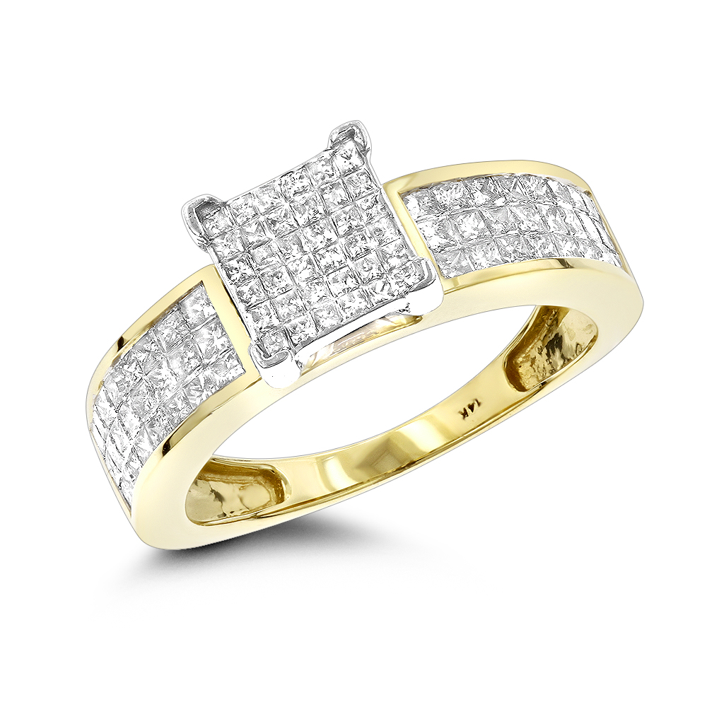 14K Pre-Set Princess Cut Diamond Engagement Ring 1.1 Yellow Image