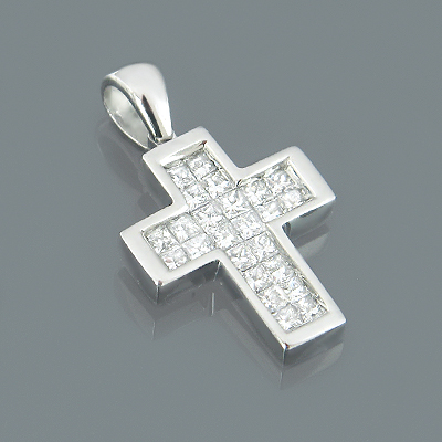 Small 14K White Gold Princess Cut Diamond Cross Pendant 0.50ct Main Image