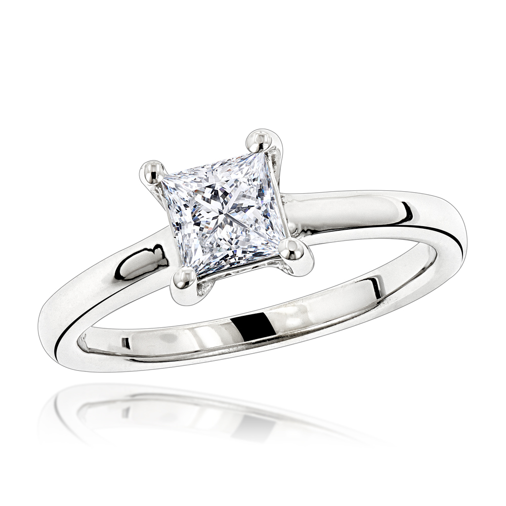 14K Princess Cut Diamond Engagement Ring 0.75ct White Image