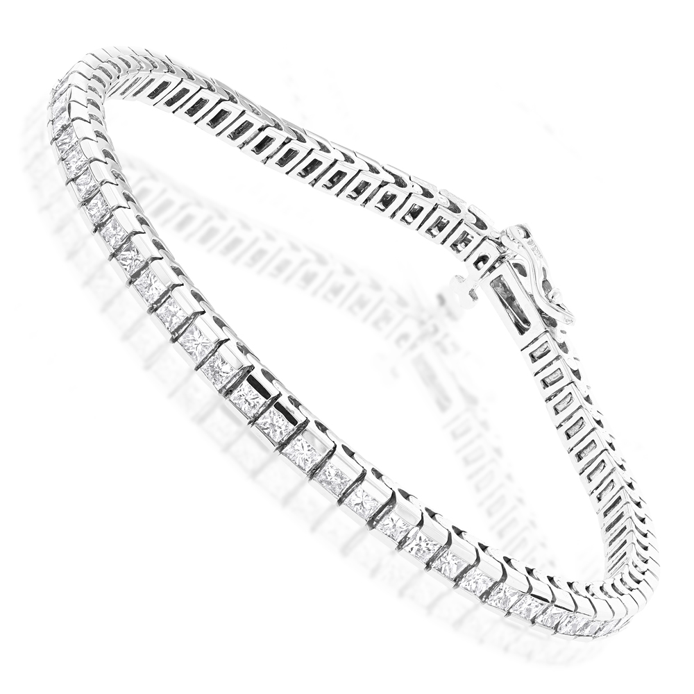 14K Gold Princess Cut Diamond Tennis Bracelet for Women 4.83ct White Image