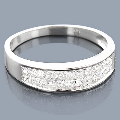 Thin 14K Princess Cut Diamond Wedding Band 0.75ct