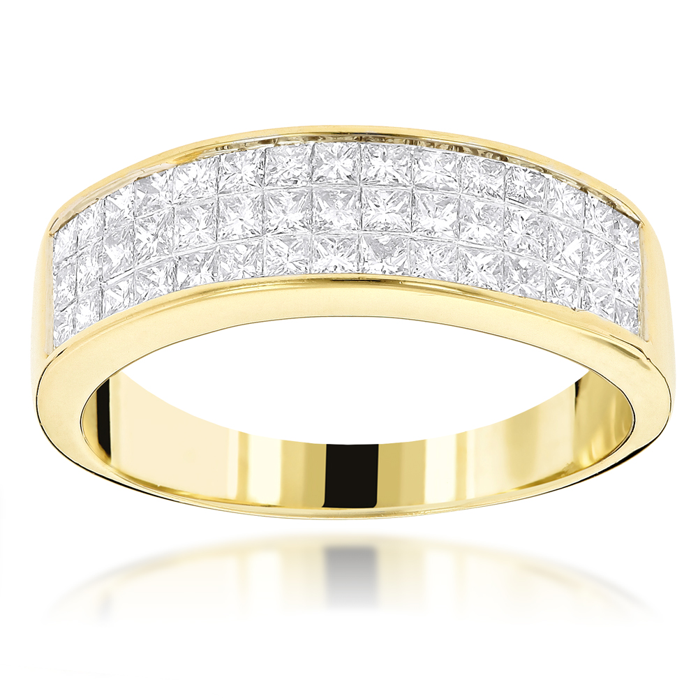 14K Gold Princess Cut Diamond Wedding Band Invisible Set Ring 1.25ct Yellow Image