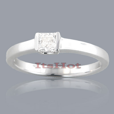 Affordable Princess Cut Solitaire Diamond Engagement Ring 1/3ct 14k Gold Main Image