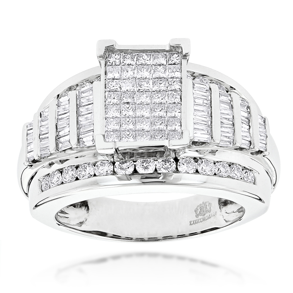 14K Princess Round Baguette Diamond Engagement Ring 1.75ct Main Image
