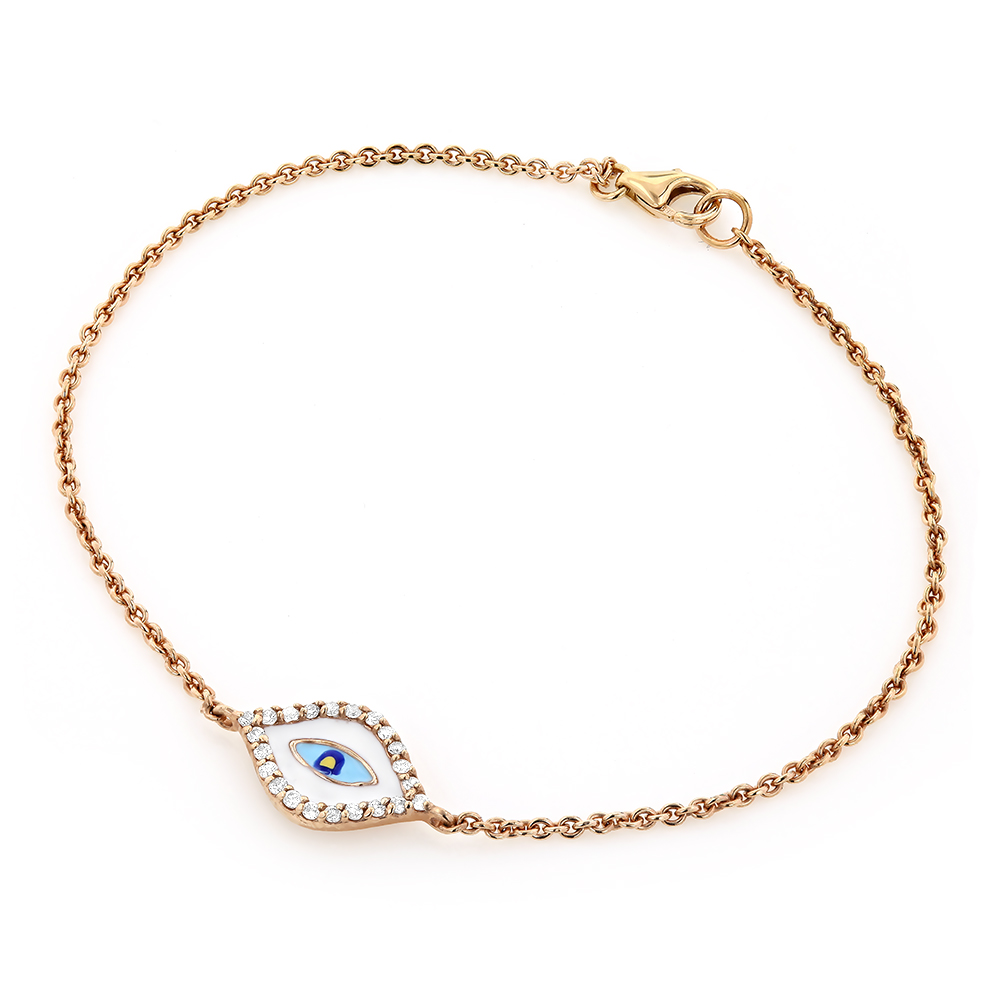 Luxurman Good Luck Jewelry: 14K Rose Gold Evil Eye Diamond Bracelet 0.1ct