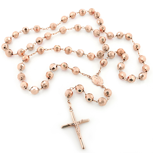14K Rose Gold Rosary Beads Chain Necklace 8mm 30in