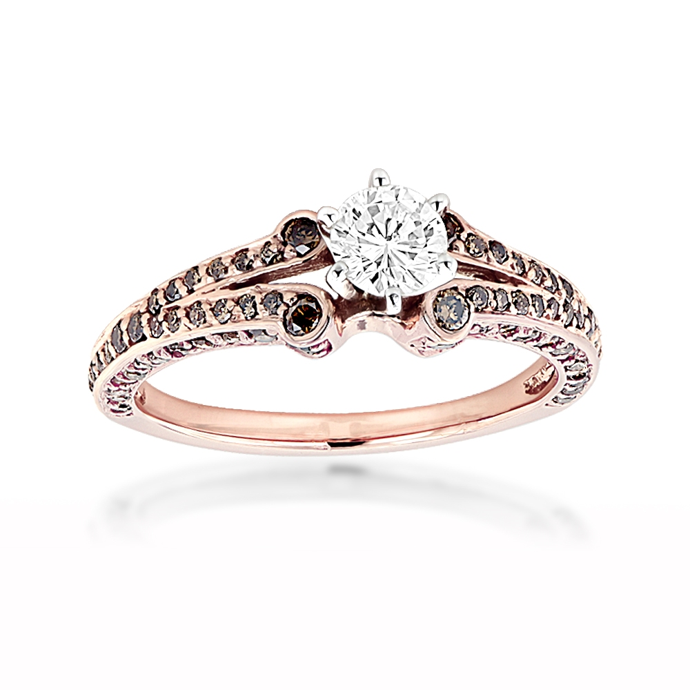 14K Rose Gold Unique Ladies White Brown Diamond Engagement Ring 1.2ct 14k-rose-gold-unique-ladies-white-brown-diamond-engagement-ring-12ct_1