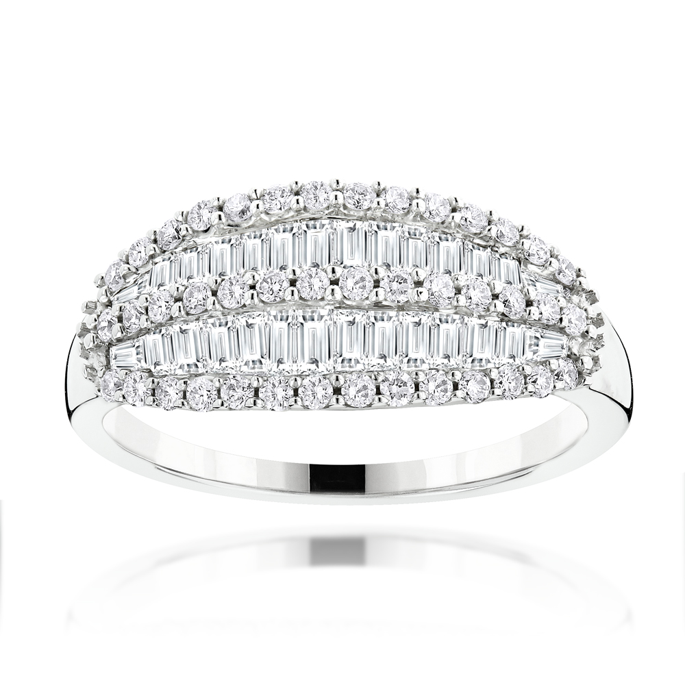 Unique 14K Gold Round and Baguette Diamond Band for Women 1.25ct