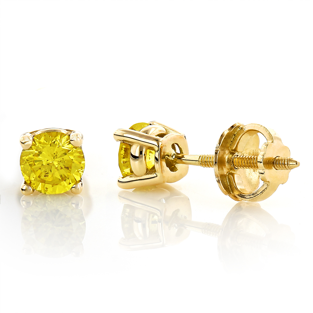 14K Round Canary Yellow Diamond Stud Earrings 1/2ct Yellow Image
