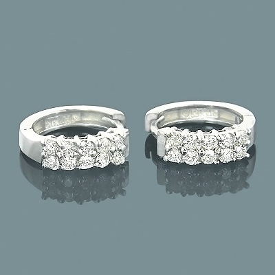 14K Round Diamond Huggie Earrings 0.66ct Main Image
