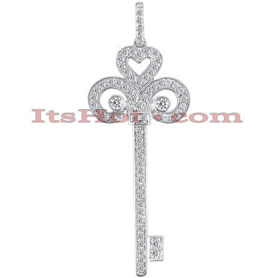 14K Round Diamond Key Pendant Necklace 0.43ct Main Image