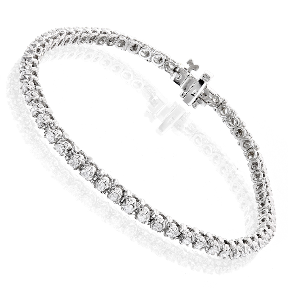 Round Diamond Tennis Bracelet 14k Gold 1 1/2ct