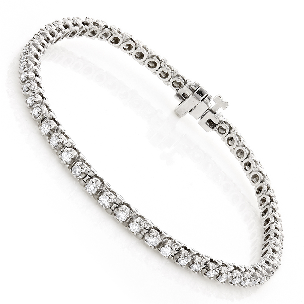 14K Gold Round Diamond Tennis Bracelet for Women 1 3/4ct G/VS White Image