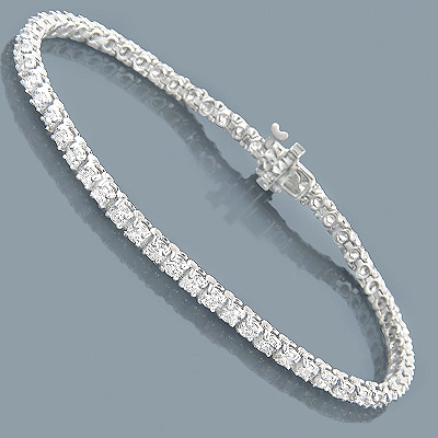 14K Round Diamond Tennis Bracelet 3.55ct