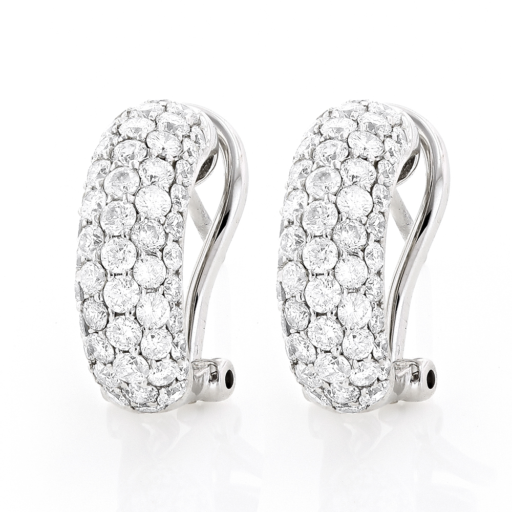 Small 14K White Gold Round Pave Diamond Hoop Earrings 1.87ctw White Image