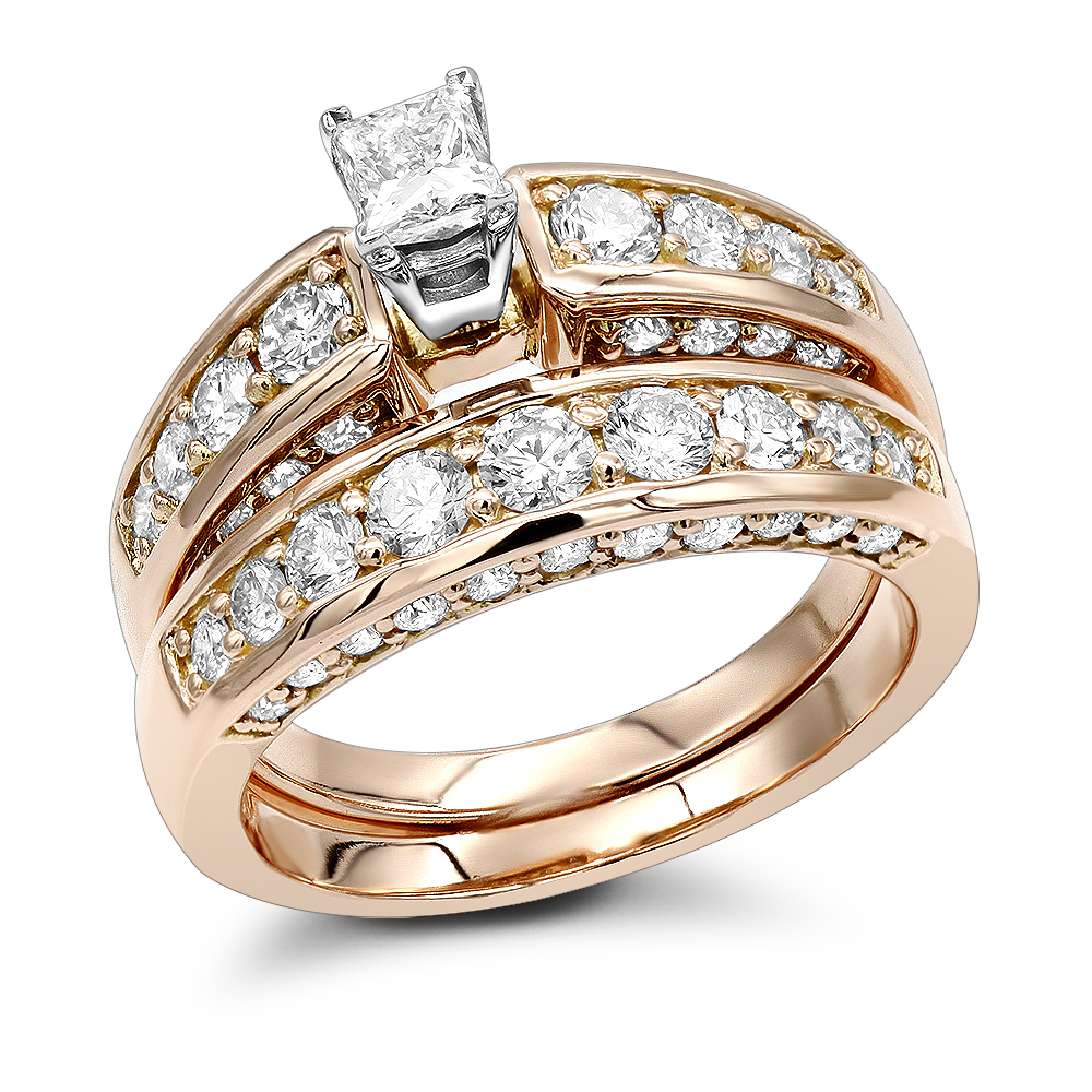 14K Round Princess Diamond Engagement Ring Set 3.07ct
