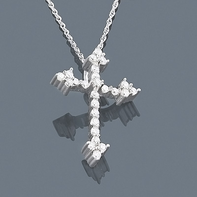 14K Small Diamond Cross Pendant 0.30ct